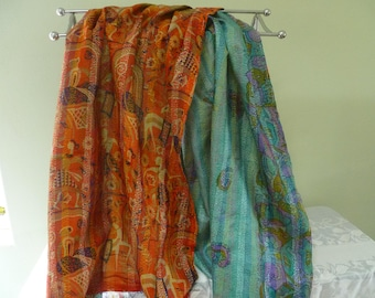 Vintage silk Kantha, FREE SHIPPING, wrap, large silk scarf, reversible, sky blue and orange, table runner, home decor, furniture cover. boho