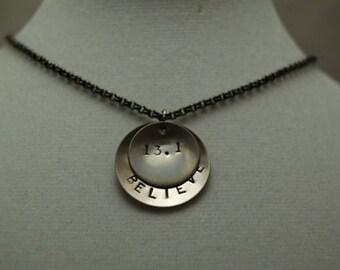 BELIEVE in the HALF MARATHON Necklace - Running Jewelry - Half Marathon 13.1 Necklace on gunmetal chain - Half Marathon Training First Half