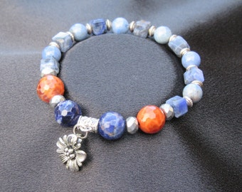 Patience, Passion and Communication Natural Gemstone Bracelet with Sodalite, Dumortierite, Hematite and Fire Agate