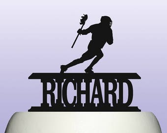 Personalised Acrylic Lacrosse Birthday Keepsake Cake Topper Decoration