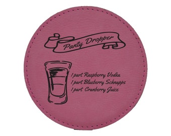 Panty Dropper Drink Coasters - Shots - Mixed Drink Recipies - Choice of Coaster Color and Shape - 087