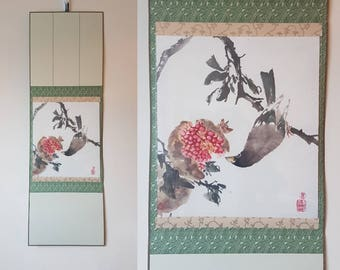 Original Chinese Painting: Pomegranate and Chinese grosbeak (optional scroll)