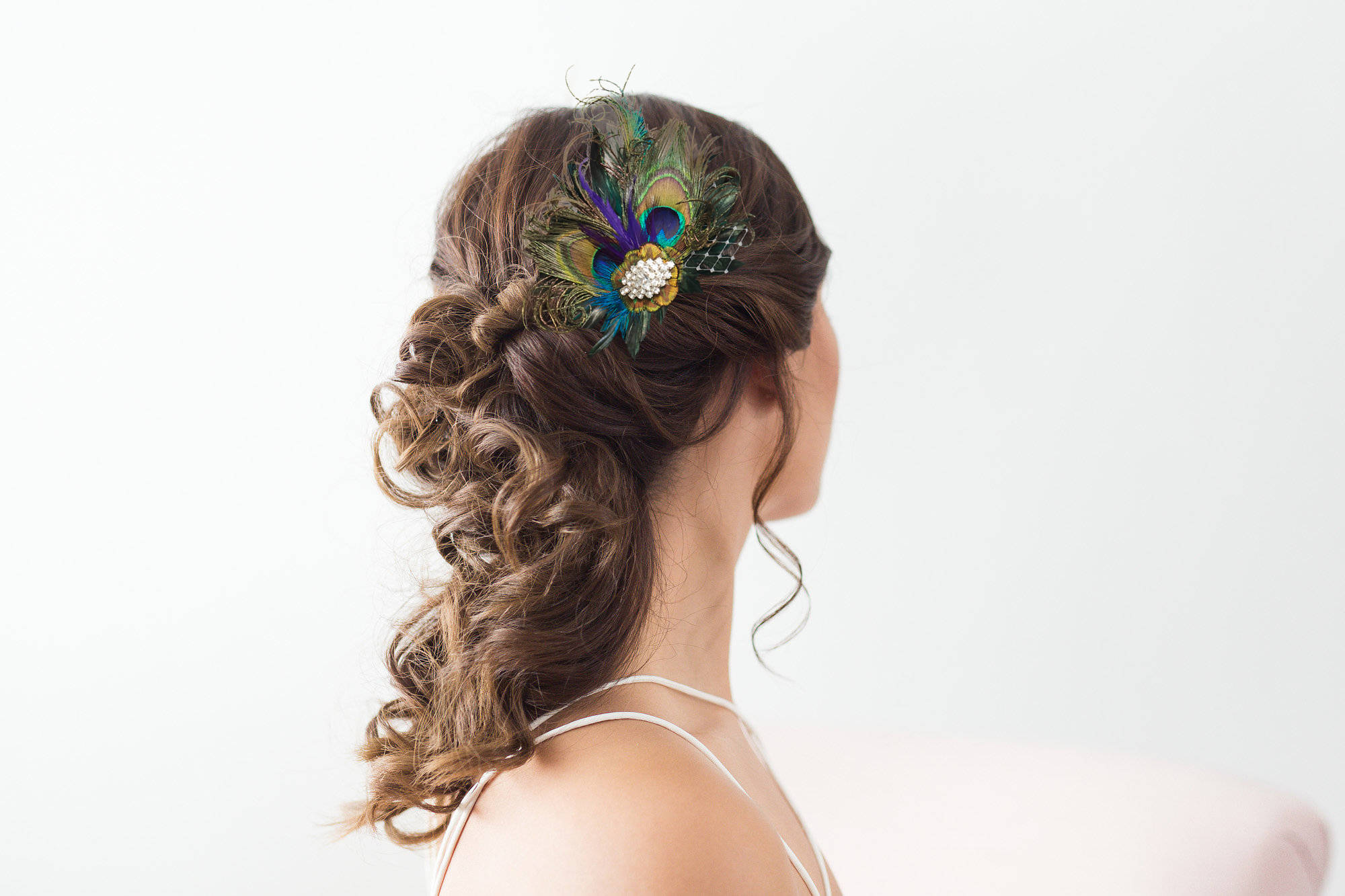 Royal Blue Peacock Hair Clip Bridal Head Piece Peacock Feather