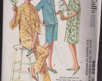 McCall's 6655 Misses' and Junior Pajamas or Nightshirt with Transfer for Monogram