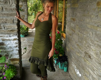 Khaki Festival Sundress, Asymmetrical clothing for women, High Low dresses, Green Boho dress, Steampunk wear, Natural clothes for her