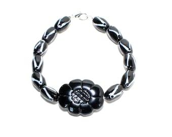 Flower black and white glass beaded layer stack bracelet