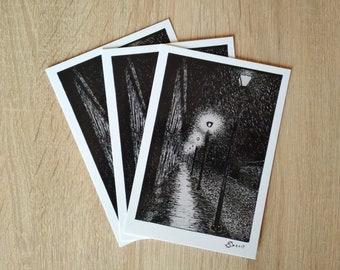 ORIGINAL ART PRINT - Rainy Night Street - Original Art - Pen and Ink illustration - Prints - Postcard - Black White - Handmade - art print