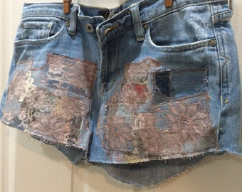 patchwork jeans, jean shorts, denim and lace, patched, hippie, boho, upcycled, festival, daisy dukes, size 8, Lucky Brand size 29