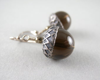 Smoky Quartz Stone Acorns Earrings with Free USA Shipping