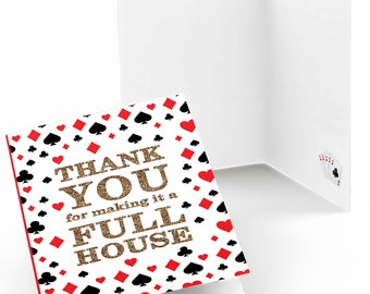 Las Vegas - Casino Party Thank You Cards - Poker Night Party Supplies - Prom Party Thank You Cards - Holiday Party Theme - Set of 8 Card