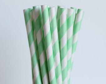 Mint Green Striped Paper Straws-Mint Green Straws-Striped Straws-Wedding Straws-Party Straws-Mason Jar Straws-Shower Straws-Paper Straws