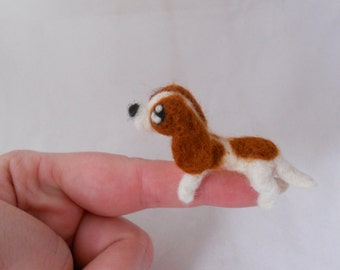 Two Custom tiny Cavalier King Charles Spaniels - needle felted TINY puppy soft sculpture.