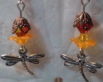 Swarovski Crystal Dragonfly Earrings - dragonfly - Copper vintage bead caps - Swarovski Crystals