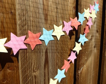 Star Felt Garland in summer flamingo colours - wall decoration perfect for kids room or parties
