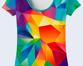 Crystals T Shirt, Colorful Ladies Top, Geometry T Shirt for Women, Design T Shirt, Casual Clothing, Crew Neck Tee