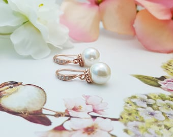 Rose Gold Pearl Drop Earrings - Rose Gold Wedding Earrings - Simple Pearl Earrings Bridal - Cubic Zirconia Round Pearl Earrings E4404