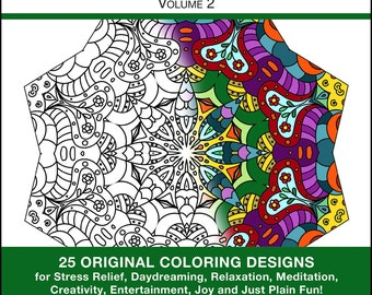 Coloring Book Pages - PRINTED BOOK - Coloring Book - Volume 2 - 25 Original Coloring Pages