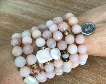 Peach aventurine beaded bracelet