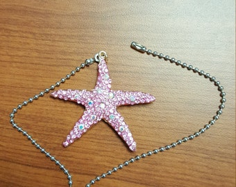 Bejeweled Shiny Star Fish Pink Ceiling Fan Light Kit Pull Chain Silver Beaded Pull Chain