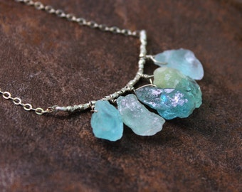 Raw Aquamarine Necklace. 5 Rough Aquamarine, Amethyst, Tourmaline, Citrine, or Chrysoprase Nuggets. Gold Fill or Sterling Silver. NS-1
