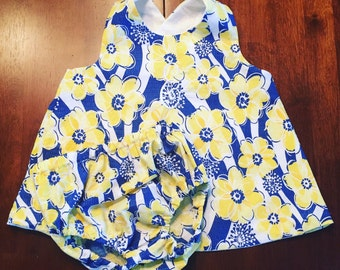 Blue and Yellow Floral Pinafore Top and Bloomers