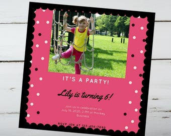 Pink and Black Birthday Party Invitation / Pink Invitation / Polka Dot Invitation / Birthday Party Invitation / Girl Invitation / Pink