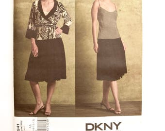 Vogue 2941 DKNY Donna Karan New York Sewing Pattern Misses' Wrap Top Bias Camisole Gathered Hem Skirt UNCUT Factory Folds Sizes 8-10-12