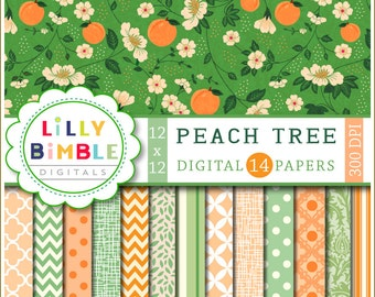 PEACH TREE digital papers for cards, invites, scrapbooking Commercial Use Included Peaches, green, orange,