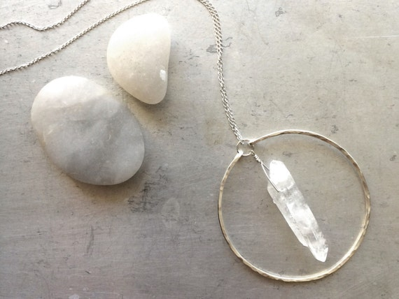 Circle Crystal Quartz Necklace