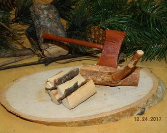 Mini Cottonwood Bark Mountain Man Axe Wood Carving Wood Carvings Jumbo Axe Pine Tree Log & Split Fire Wood Lumber Jack Western Forest Tools
