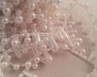 1m, 10m Roll Drop Pearl Beaded Trim - White - Sewing - Cake - Craft - Wedding - Bridal