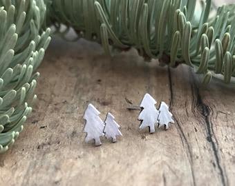 Pine Tree Stud Earrings, Hand Cut, Sterling Silver, Two Pine Trees Stud Earrings