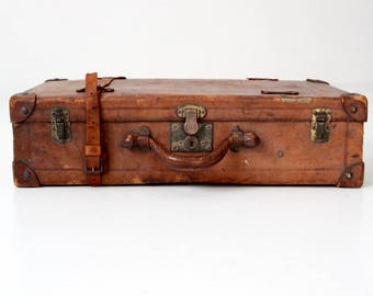 antique leather suitcase, brown leather luggage