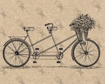 Alte Fahrrad Tandem Korb Blumen Bild Instant Download druckbare Vintage Bild Clipart digitale Grafik für Dekor, print etc. 300dpi
