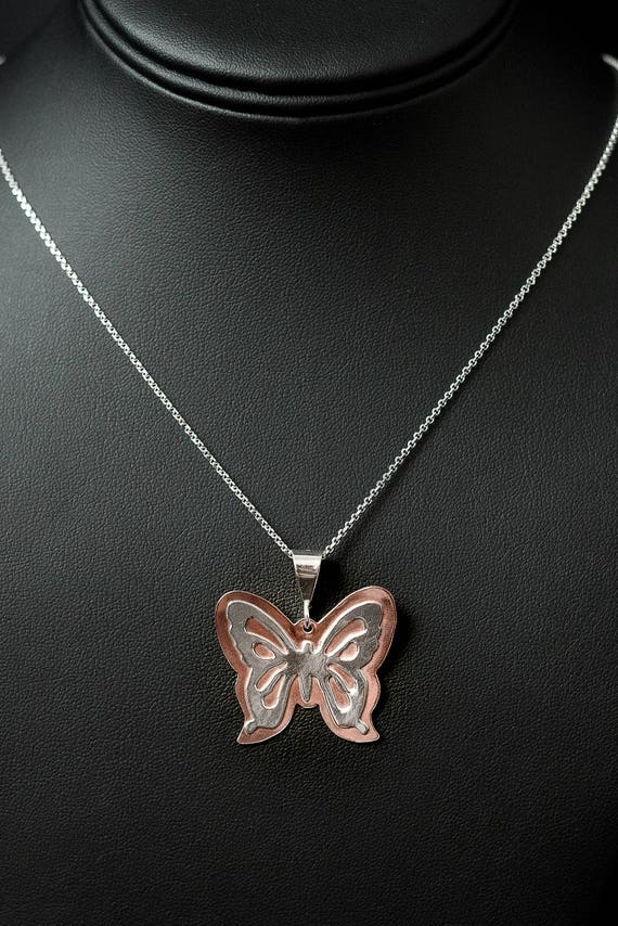 Butterfly Pendant, Sterling Silver and Copper Pendant, Butterfly Necklace, Chain with Butterfly, Handmade Butterfly, Mixed Metal Pendant.