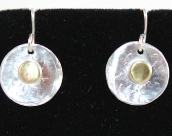 Sterling Silver Earrings with Brass Overlay (100917-029)
