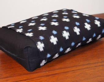 Organic Buckwheat Neck & Back Pillow with Vintage Japanese Kasuri cover