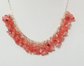 Cherry quartz and crystal cluster necklace