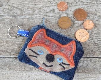 Fox Purse, Key Ring Purse, Coin Purse, Denim Purse, Mini Zip Purse, Whimsical Purse, Applique Purse, Upcycled Purse, Recycled Eco Friendly