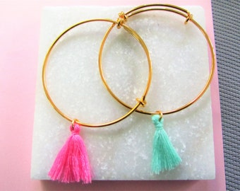 Gold Tassel Bangle Bracelet, Pink Tassel Bracelet, Green Tassel Bracelet,Adjustatble Bracelet, Stacking Bangle Bracelets, Gift for Her