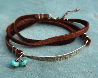 Silver Hammered Bracelet / Brown Leather Wrap Bracelet / Turquoise and Silver Bracelet / Oxidized Silver Bracelet / Adjustable Bracelet