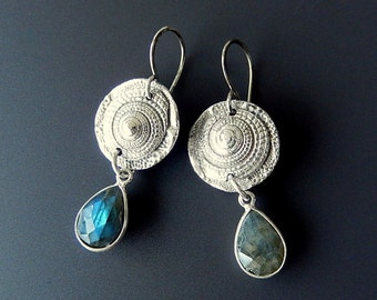 Sundial Shells and Labradorite Fine and Sterling Silver Drop Earrings with Handmade and Handforged Earwires