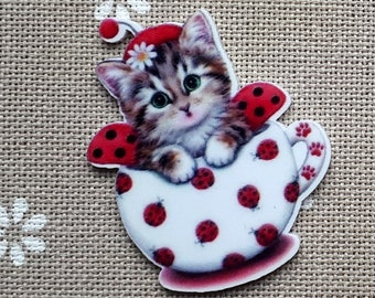 Cat needle minder for cross stitching/embroidery