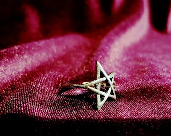 Pentagram Ring - gothic goth occult one size ring pentacle witch wicca wiccan