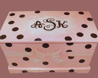 Monogrammed wooden Chest with Polka Dots and Ribbon Custom Designed, hand-made and hand painted, wooden toy box kids furniture