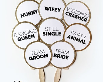 Wedding Photo Booth Props Set of 12 | Some Assembly Required