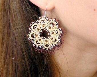 Tatting earrings, Flower earrings,Chandelier earrings,Frivolite earrings, Lace earrings Frivolite Gift for her,Cluster earrings,Tatting lace