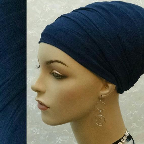 Stylish blue sinar tichel, head wrap, head scarf, Jewish hair covering, hair snood, hair scarf, head covering