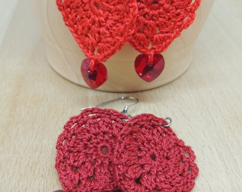 Crochet earrings with Swarovski red heart, crochet earrings, handmade earrings, handing earring, gift for Valentine's Day, gift