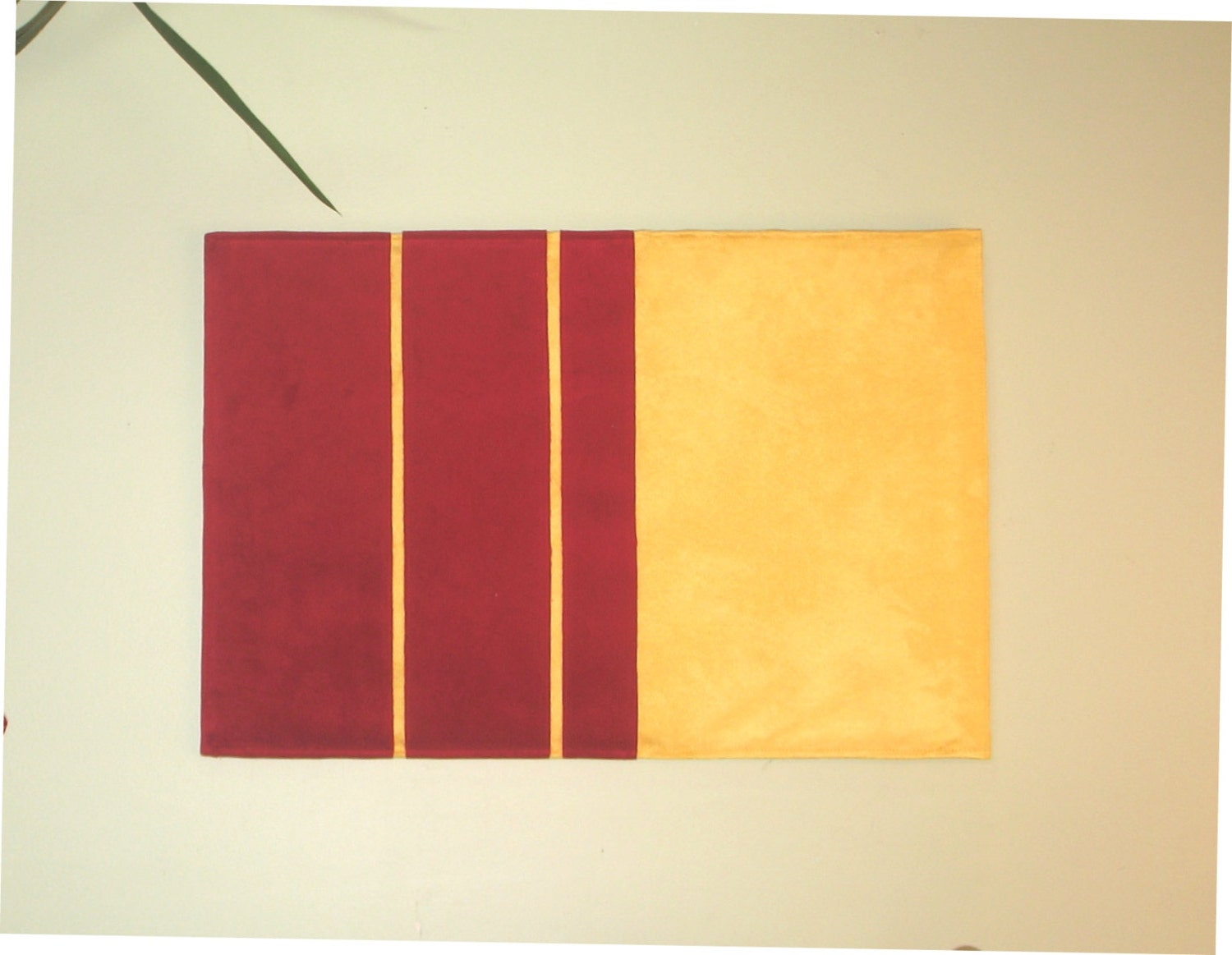 Red-Yellow Contemporary Suede Wall Art